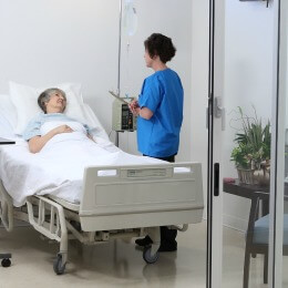Physician caring for patient